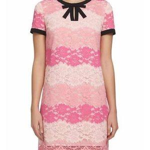 "CeCe 'Brandy"" Lace dress Pink ombré and bow Sz 8"
